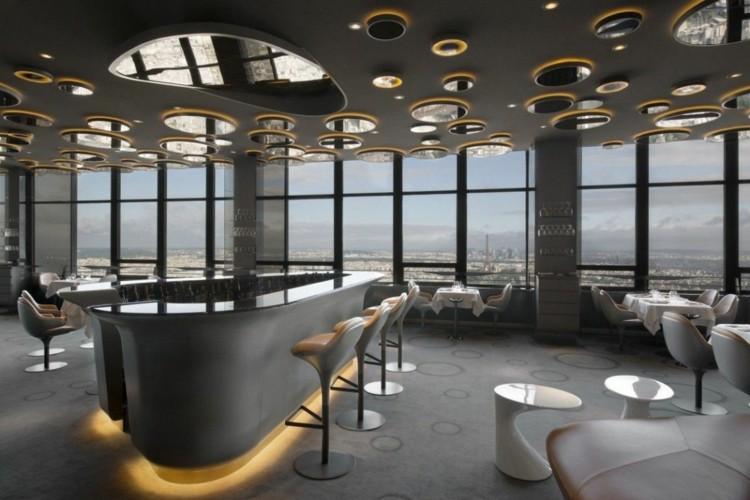 restaurantes techos grises cuero luces