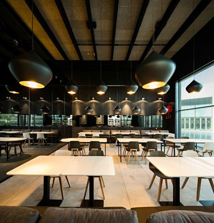restaurantes techos lamparas mesa grises