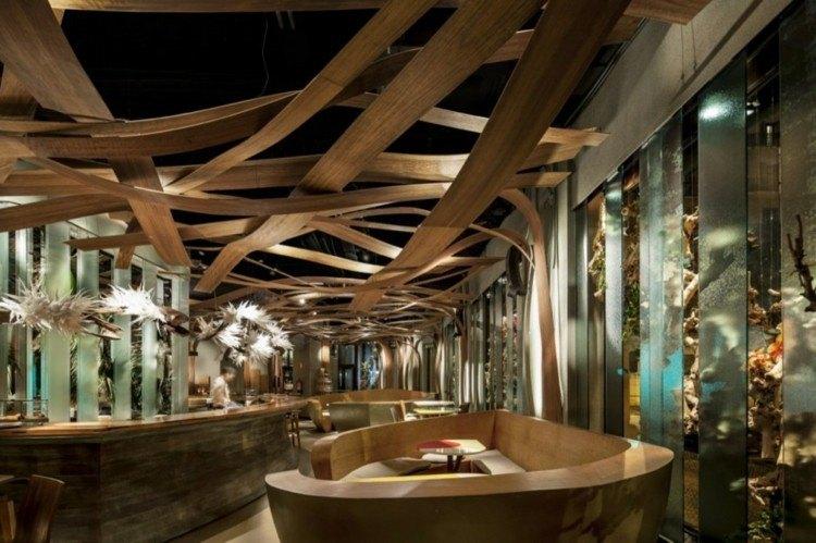 restaurantes techos maderas led ideas