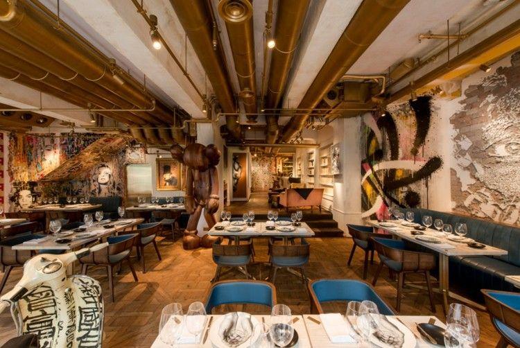 restaurantes techos mesas dorados industrial
