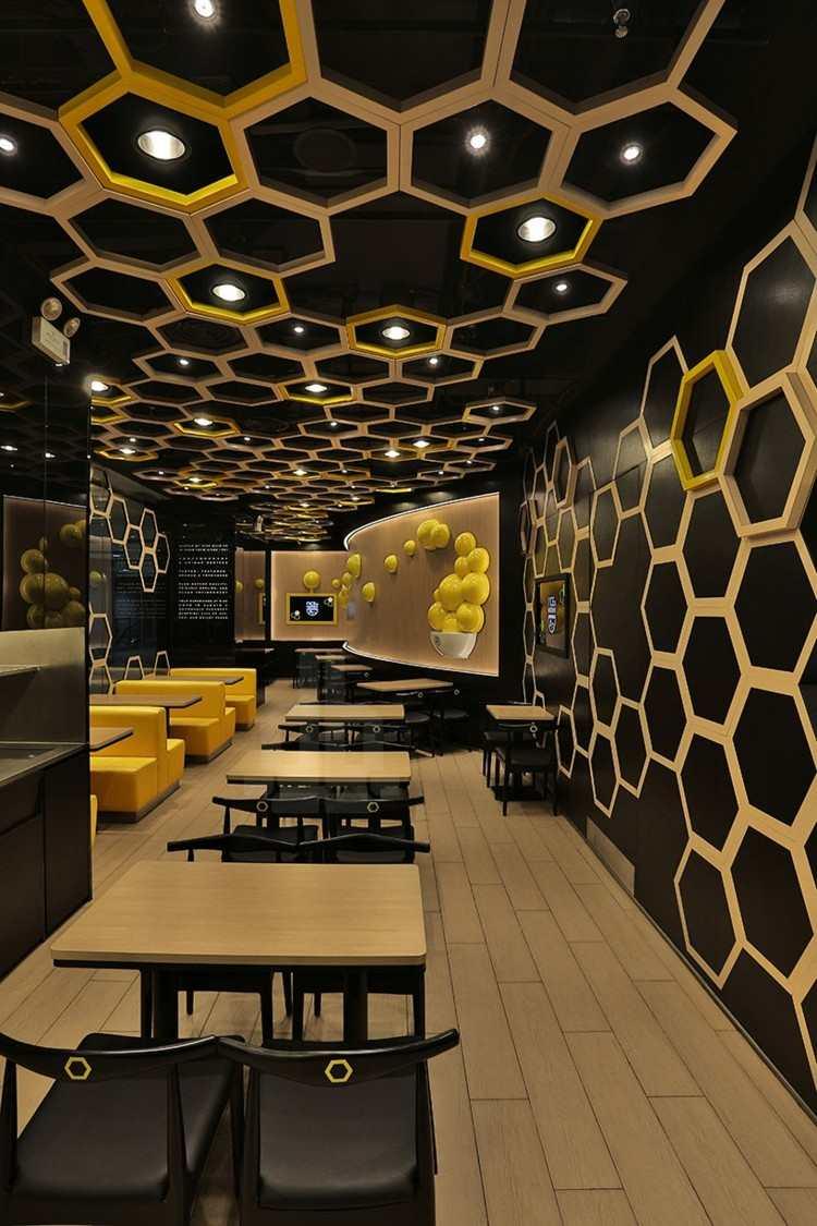 restaurantes techos paneles dorado amarillo