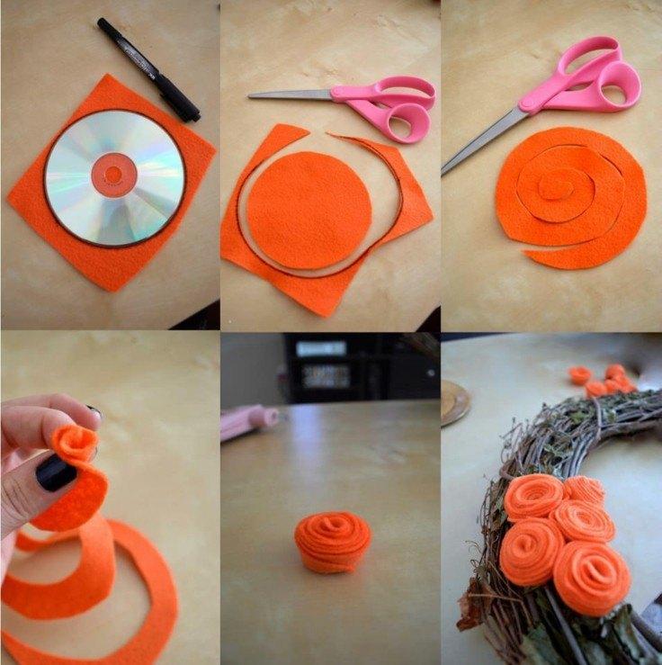 decoracion DIY rosas tela prensada color naranja