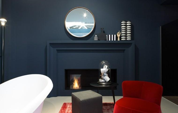 sala azul marino bañera sillon