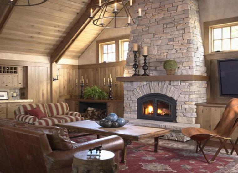 Sala De Estar Rustico Moderno ~ Chimenea de diseño moderno en la sala de estar Chimeneas modernas