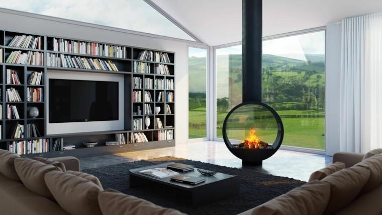 sala estar original chimenea moderna