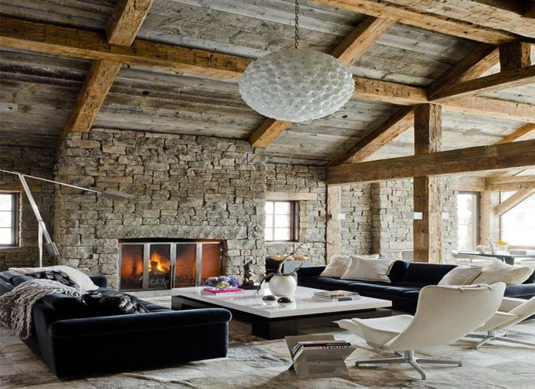 sala de estar moderna chimenea