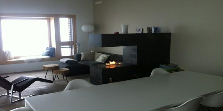 salón comedor chimenea moderna