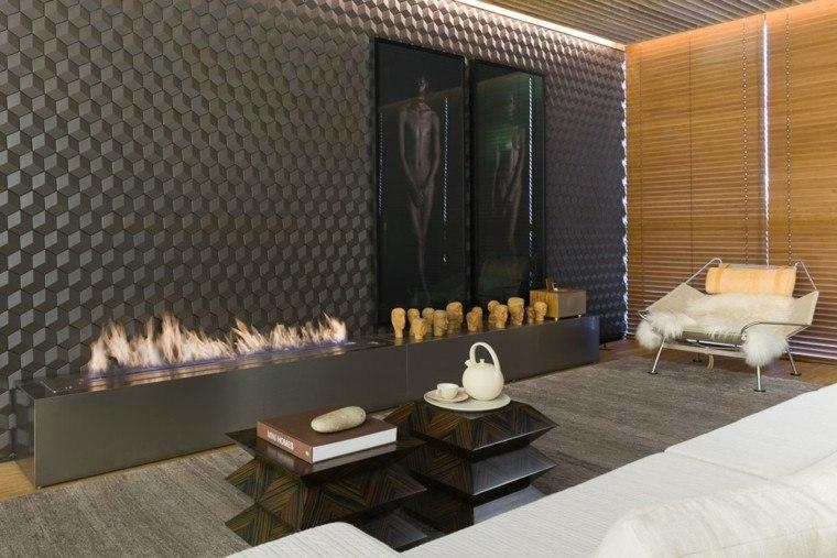 salon contemporáneo diseño chimenea