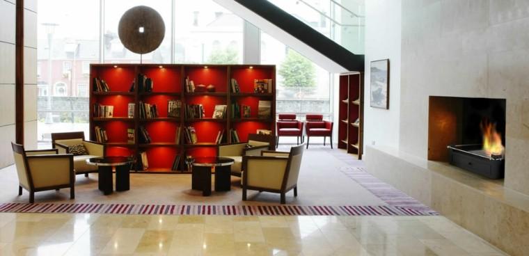 salon estilo asiático chimenea
