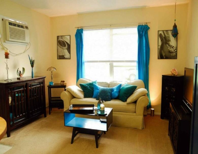 salon pequeño sala estar cortinas