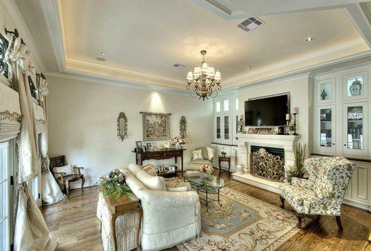 salon estilo señorial tele chimenea