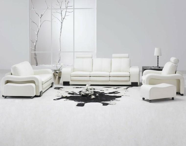 salon color blanco alfombra vaca
