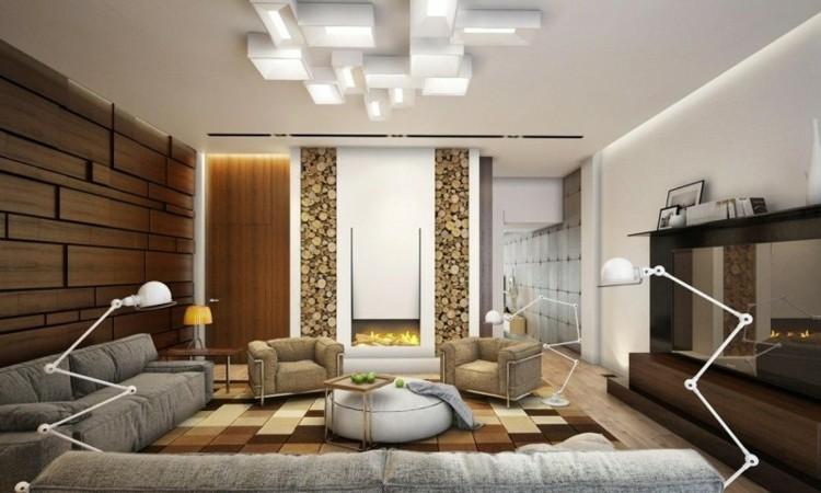 salon con chimenea leña moderna