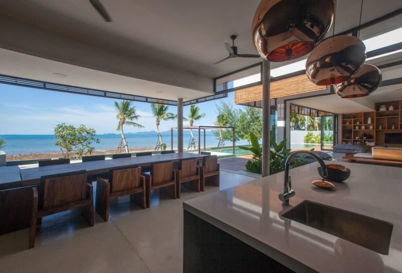 salon comedor cocina vistas playa