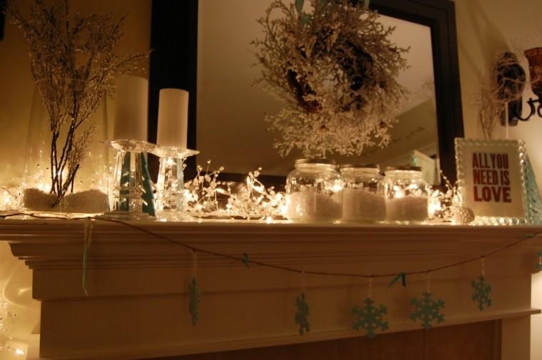 salon decoración navidad blanca