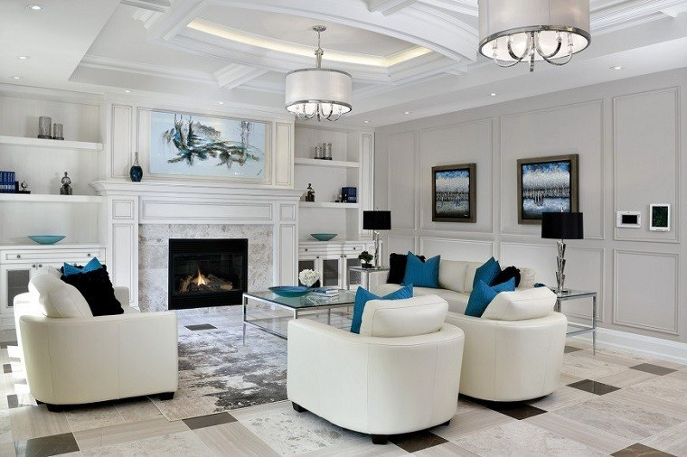 salon moderno blanco gris chimenea ideas