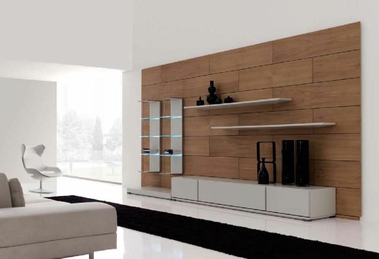 salon moderno pared panel madera