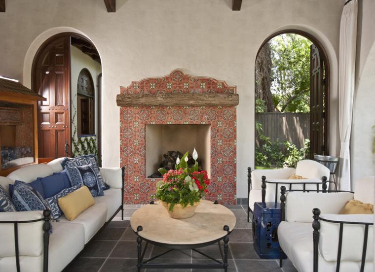 salon chimenea azulejos cerámica
