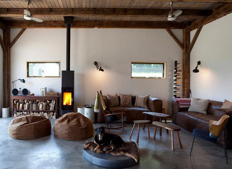 sala estar moderna chimenea colgante