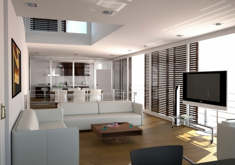salon suelo madera sofas blancos
