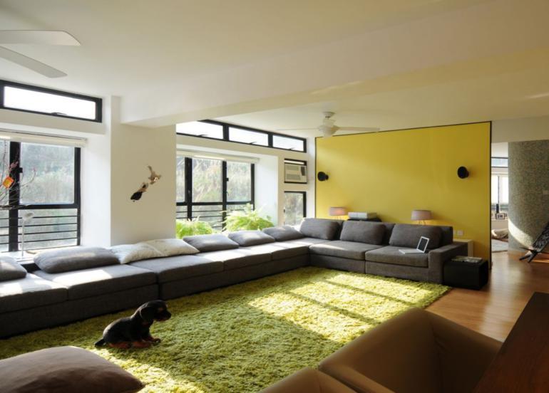 decoracion salon amarillo verde