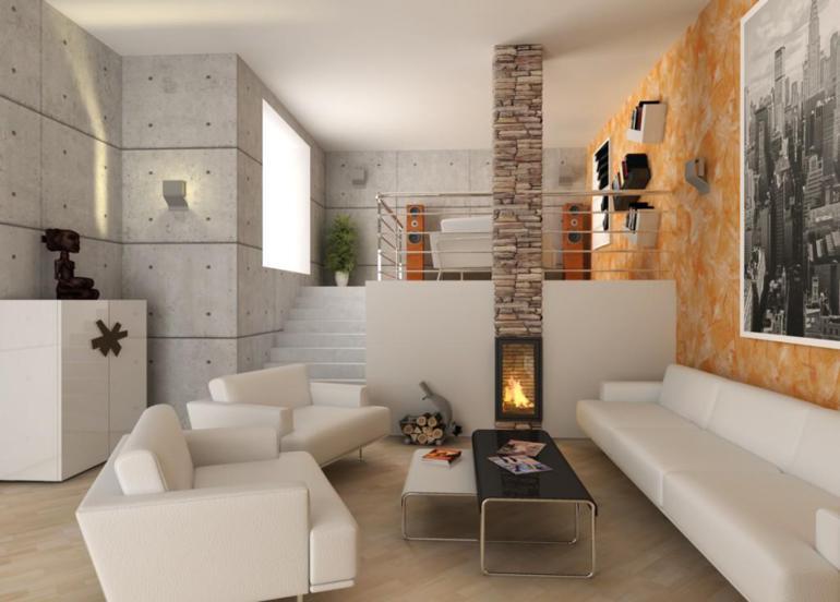 salon moderno paredes horigon armado