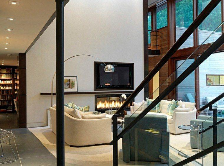 salones calientes chimenea contemporaneo televisor ideas