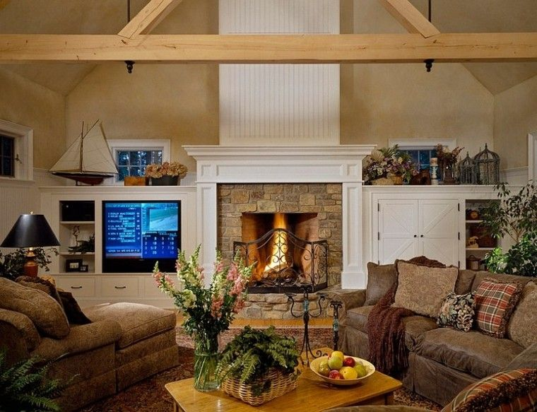 salones calientes chimenea perfecto invierno ideas