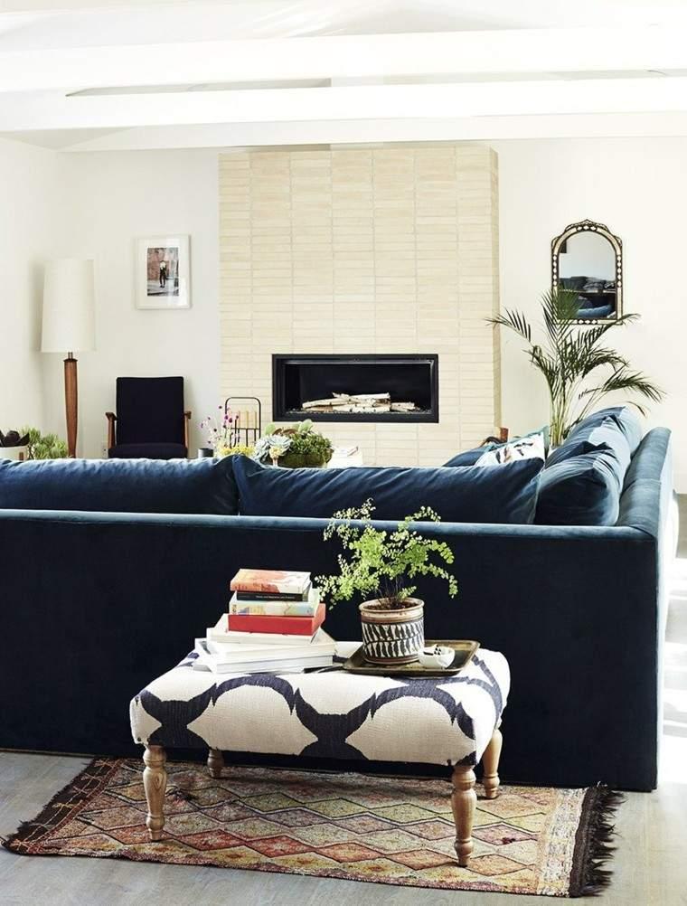 salones chimenea sofa oscuro ideas