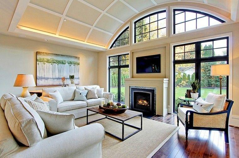 salones chimeneas ventanales ideas