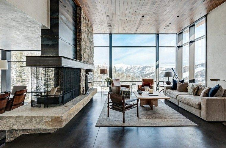 salones chimenea preciosas estilo rustico vistas ideas