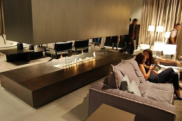 salones chimenea preciosas moderno cristal ideas