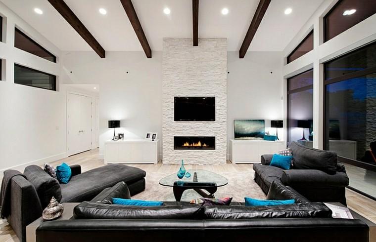 salones chimenea preciosas sofas cuero ideas