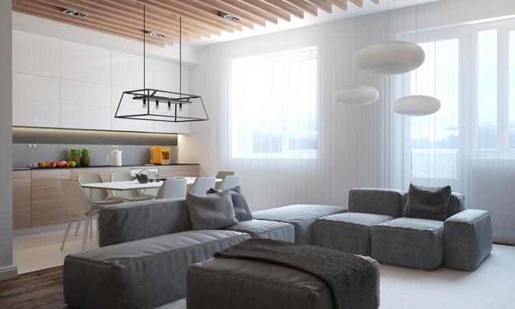 salones diseño maderas lamparas colgantes techos