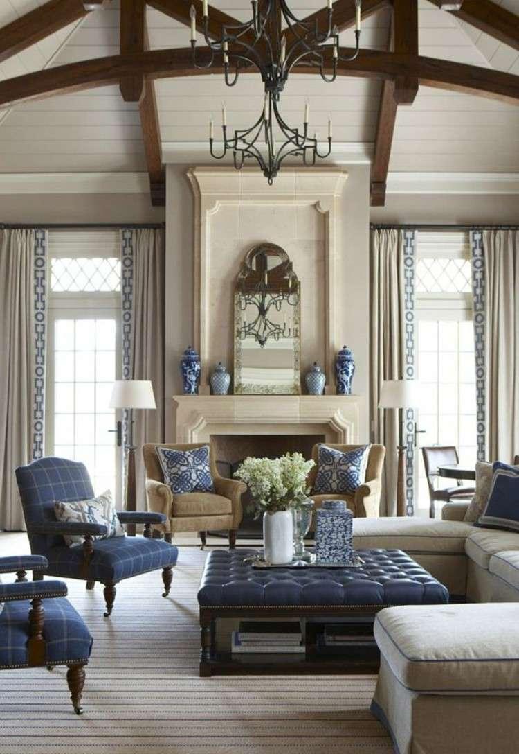 salones diseño maderas marrones campestre azules
