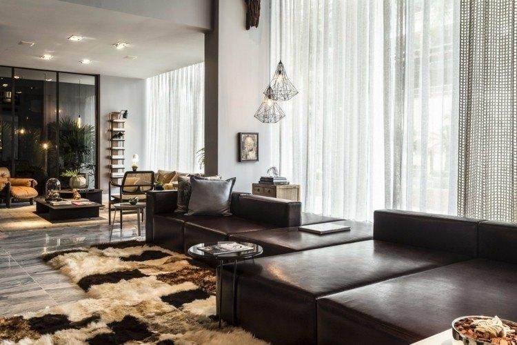 salones diseño maderas marrones fresco cuadros
