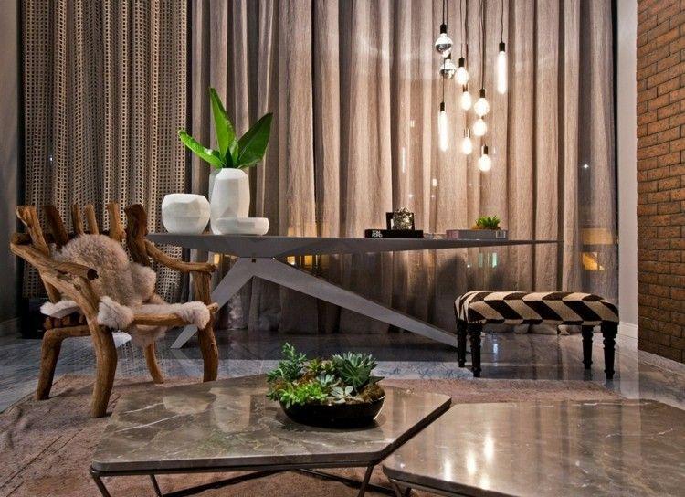 salones diseño maderas marrones marmoles cortinas
