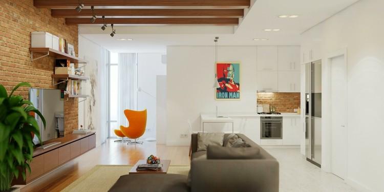 salones diseño maderas natural naranja interiores