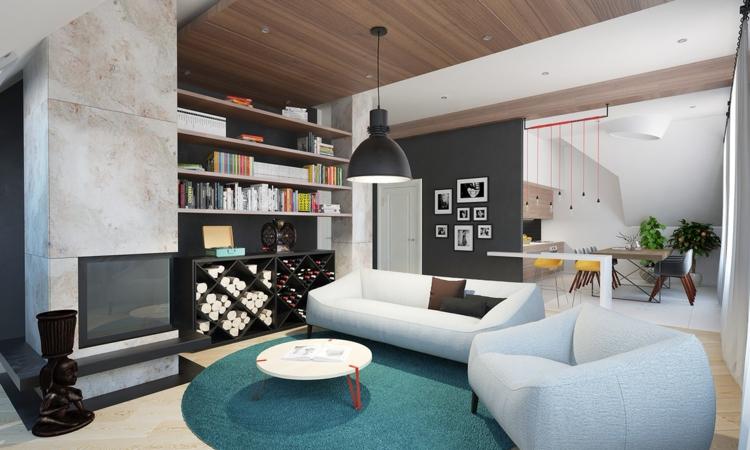 salones diseño vino decorado espacios azules