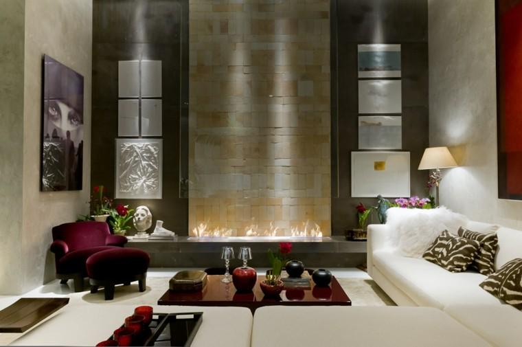 salones lujosos chimeneas modernas