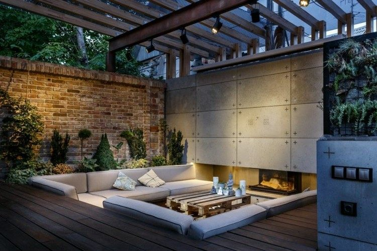 salones modernos ideas plantas cemento pared