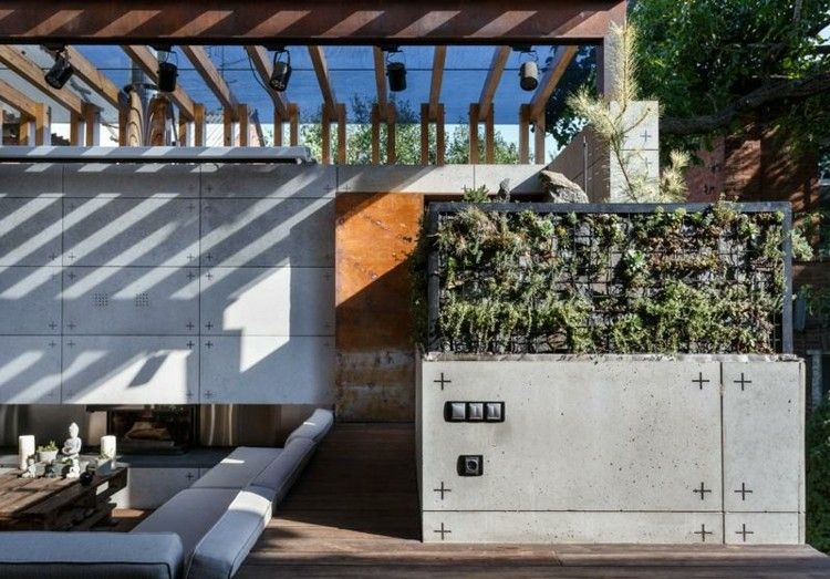 salones modernos ideas vertical jardines cojines