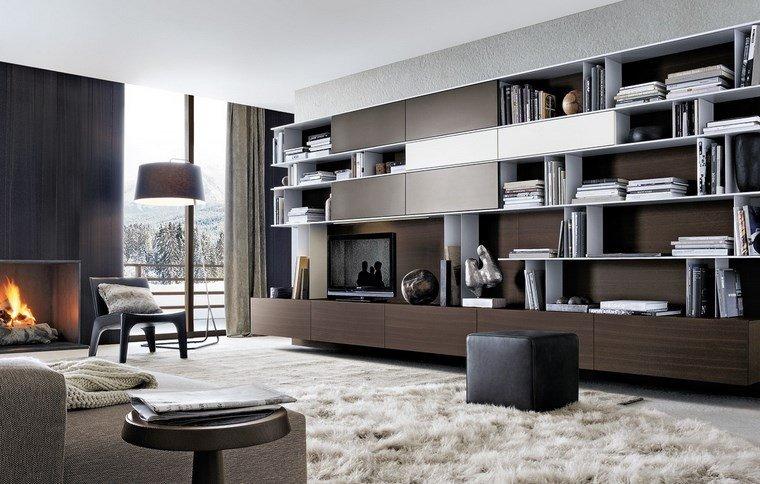 salones muebles modernos chimenea moderna ideas