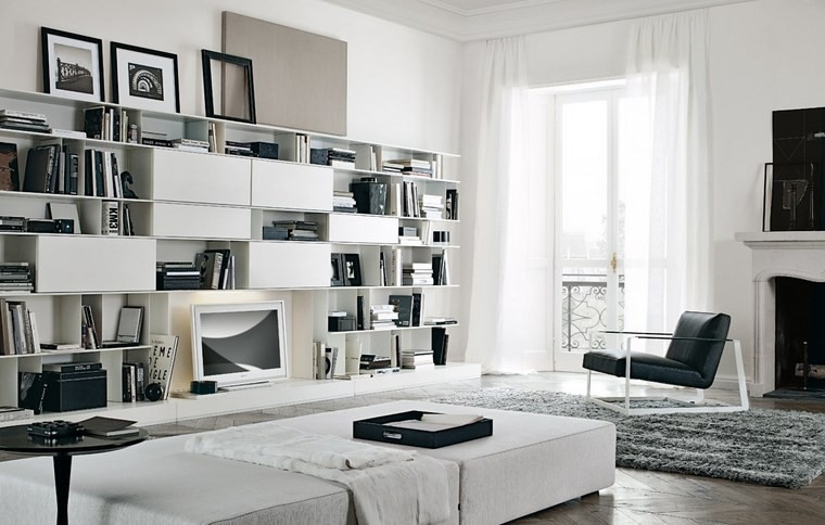 salones muebles modernos color blanco ideas