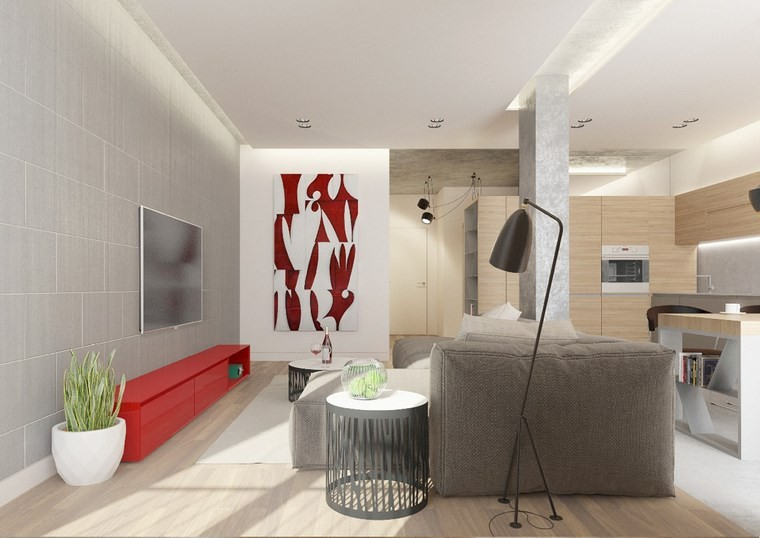 salones muebles modernos color rojo ideas