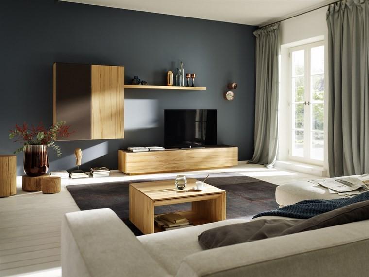 salones muebles modernos cortinas verdes ideas