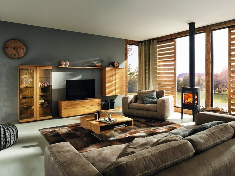 salones muebles modernos madera natural ideas