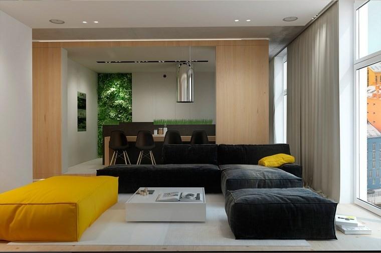 salones muebles modernos negro amarillo ideas