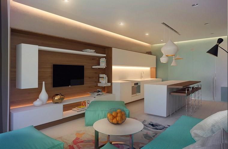 salones muebles modernos sofa sillones verdes ideas