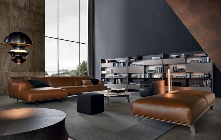 salones muebles modernos sofa taburetes cuero ideas